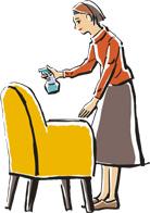 椅子にスプレーする女性のイラスト