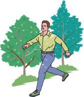 森の中を歩く男性のイラスト